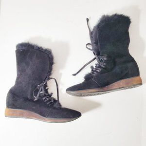 A. TESTONI Italy Luxury Fur Lined Suede Boots EUC